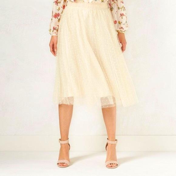 Polka Dot Tulle Peach/Cream Midi Skirt Disney LC